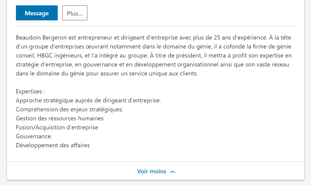 Encart description LinkedIn